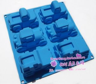 Silicone 6 Cars Chocolate Cake Soap Mold Mould L119
