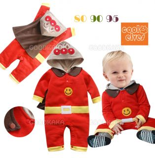 Anpanman Costume for Baby Kid Child Hooded Jumpsuit Cotton Playsuit Long Sleeves