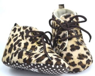 Leopard Infant Toddler Baby Girl Crib Mary Jane Shoes Size 19 21 23