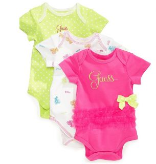 Guess Designer Baby Girl Clothes 3 Pack Bodysuits Pink Green 3 6 9 Months