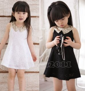 Lovely Kids Toddlers Girls White Black Party Sleeveless Lace Dress AGES3 8Y