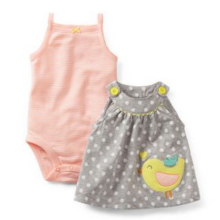 Carters Baby Girl Clothes 3 Piece Summer Set Gray Bird 3 6 9 12 18 24 Months