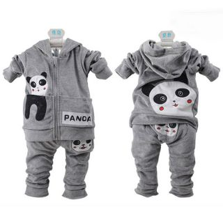 Baby Toddler Panda Hoodie Outerwear Top Pant Boy Girl Children Clothing 2pcs 0T