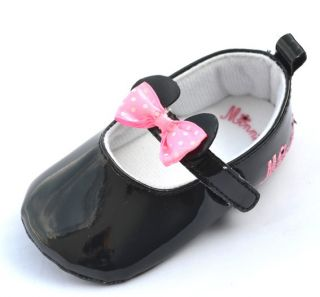 Black Pink Bow Mary Jane Infant Toddler Baby Girl Shoes Booties 3 12 Months