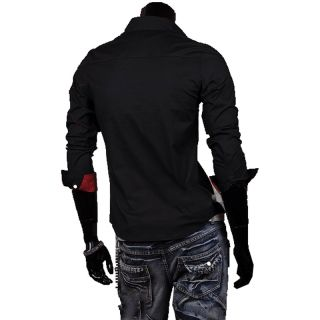 Casual Mens Designer Cross Line Slim Dress Shirts Tops Western Man Long T Shirts