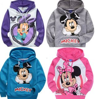 Mickey Mouse Kids Toddler Boys Girls Hoodie Sweatshirt Hoody Minnie Ages 2 7