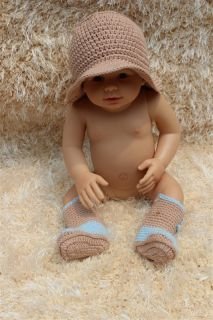 Cute Handmade Knit Crochet Cowboy Baby Hats Boots Shoes Newborn Photo Prop New