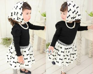 Kids Toddlers Girls Long Sleeve Contain Scarf Top Tutu Dress Outfits Sets sz2 7Y