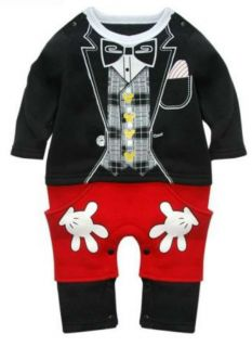 Baby Boy Clothes Mickey Style Super Cute Cartoon Tuxedo Tie Outfit 6 12 18 24M