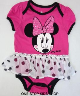 Minnie Mouse Infant Girls 0 3 6 9 Months Set Outfit Dress Bodysuit Skirt Disney