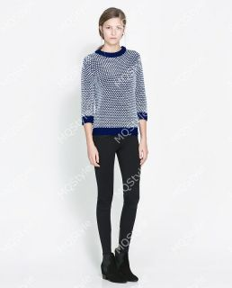 Womens Fashion Crewneck Houndstooth Long Sleeve Knit Pullover Sweaters B3214