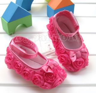 New Kids Shoes Toddlers Infant Babys Girls Hot Rose Red Flower Shoes size3 12cm