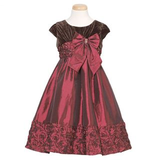 Isobella and Chloe Chocolate Cranberry Christmas Dress Baby Girls 18M