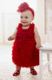 Mud Pie Baby Red Chiffon Dress 131220 Christmas Eve Collection New