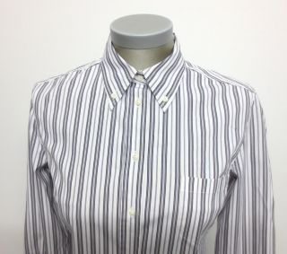 Max Mara Weekend White Black Stripe Shirt Blouse M