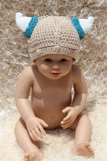New Cotton Handmade Baby Tauren Viking Knit Hat Photo Prop Newborn to 3 Year