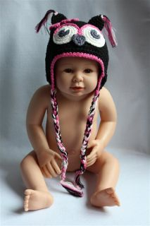 Cute Gorgeous Baby Toddler Owl Hat Beanie New Black Pink Flower Newborn to 3Year