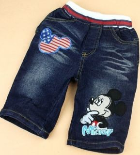 Mickey Mouse Hoodie T Shirt and Jean Shorts Pants Suits Baby Boys Girls Kids Set