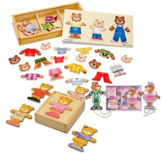 3 Pack Melissa Doug Wooden Puzzles Lacing Bear Bear Family Bear Dress Up'S