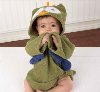 Green Owl Baby Boy Girl Dressing Gown Splash Wrap Bath Hooded Towel Robe 0 12M