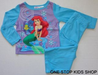 Disney Princess Girls 18 24 Months PJs Set Pajamas Shirt Pants Ariel Aurora