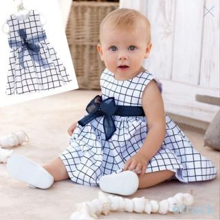 New Top Bow Knot Plaids Dress Toddler Girls Kids Outfit Cotton Clothes 0 3 Years
