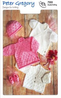 Baby Double Knit Pattern Long Sleeved Cardigans Hat Slippers Peter Gregory 7203