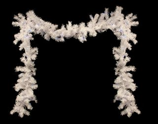 "9' x 10"" Pre Lit White Cedar Pine Artificial Christmas Garland Blue Lights"