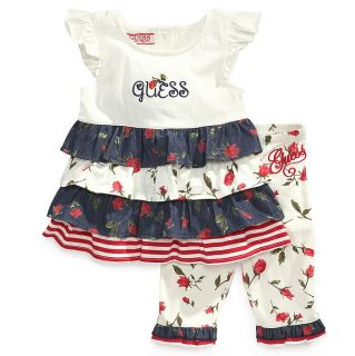 Guess Designer Baby Girl Clothes 2 Piece Set Top Leggings 12 18 24 Months
