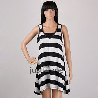 Women Lady Girl Sexy Cute V Neck Striped Casual Beachwear Swim Dress Tube Tops