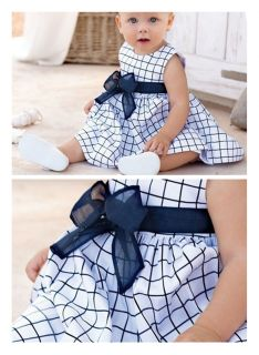 T131 Baby Girls Princess Plaid Beautiful Lace Belt Bow Dress Kids Cocktail Dress