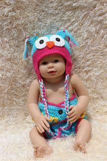 Cute Gorgeous Handmade Cotton Owl Newborn Baby Knit Hat Nappy Photo Prop New