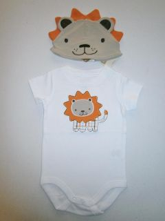 Boys Crazy 8 Outfit Lion Applique Shirt T Hap Cap Newborn Outfit 0 3 3 6