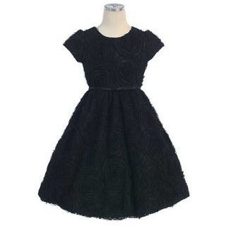 Sweet Kids Girls Size 7 Black Rosette Texture Mesh Easter Bow Dress