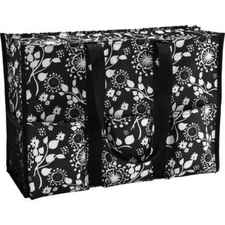 Brand New Thirty One Super Organizing Utility Tote Black Floral Brushstrokes