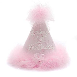 Boutique Baby Girls Pink Bow Marabou Babys First Birthday Party Hat
