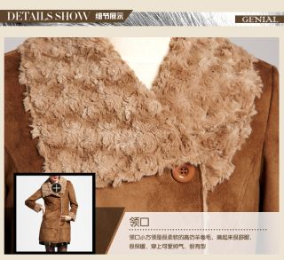 Street Casual Long Suede Jacket Women's Faux Fur Wind Coats Button Outerwear New