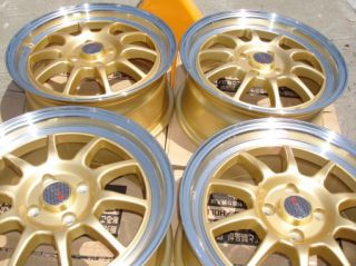 15 Dr 16 Gloss Gold 4x100 Wheels Tires Package