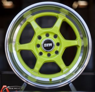"15x8 Str 501 P1 Style 3"" Lip 4x100 4x114 3 25 Neon Green Machined Lip Wheel Rim"