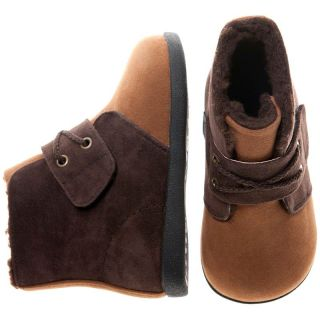 Girls Boys Toddler Childrens PU Suede Leather Boots Two Tone Brown