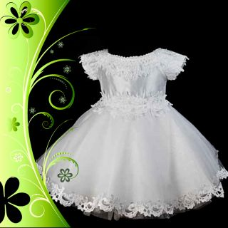 White Wedding Flower Girl Baby Party Dress Size 0
