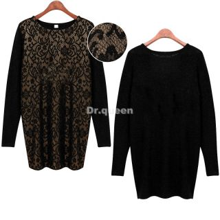 Womens Crew Neck Long Pullover Jumper Loose Lace Floral Tops Blouse Mini Dress