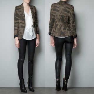 New Womens European Fashion Casual Camouflage Slim Fit Blazer Jacket B872