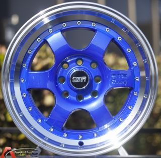 15x8 Str 516 4x114 3 Blue Machined Lip Wheel Fit Datsun 240Z 260z 280z AE86 JDM