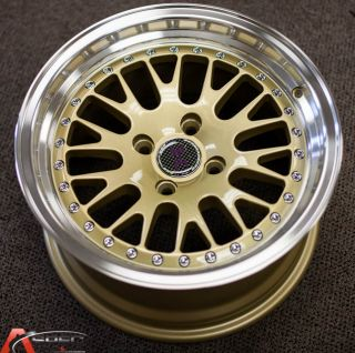 15x8 5 JNC 001 Classic 4x100 25 Gold Machined Lip Wheel Rim Old School JDM