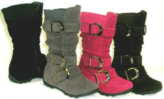 Sooo Cute Girls Kids Tall 3 Buckle Suede Boots Warm Knit Top Youth Toddler Size