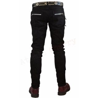 Tripp NYC Mens Black Biker Skinny Jeans Rockabilly Punk Zips Gothic Cool