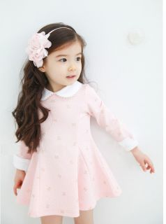 Baby Girl Clothing Toddler Pink Dress Skirt Girl Spring Fall Cotton Dress SIZE2T