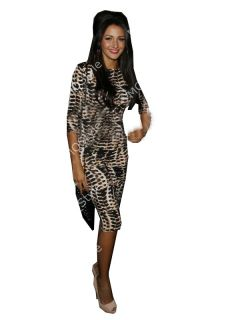 Womens Fashion Wild Leopard Print Long Sleeve Sexy Bodycon Pencil Dress B2693RO