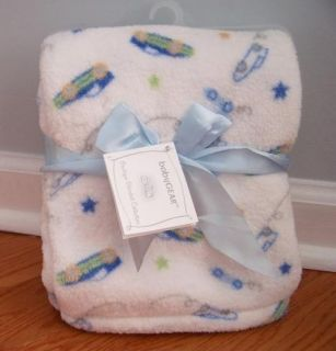 Baby Gear Boutique White Soft Cudly Car Blanket Blue Yellow Green Gray Stars